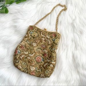 Vintage Gold Beaded Clutch Purse Bag Kiss Lock